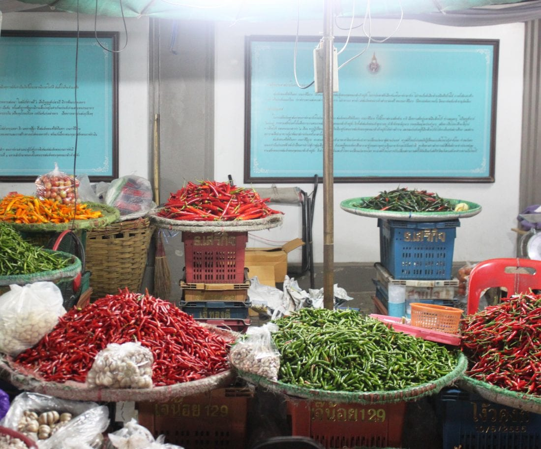 baskets of chilies in Bangkok