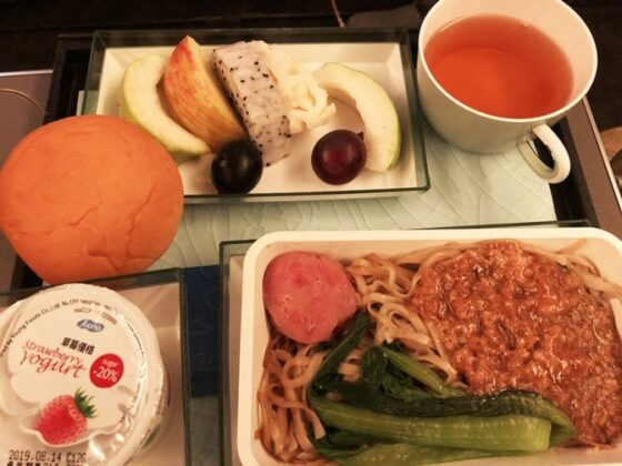 eva airlines premium economy LAX to Taipei - meal